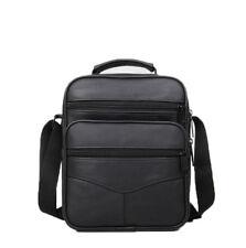 Men's Black Leather Shoulder Bag Handbag Purse Cross Body Organizer Multi Pocket