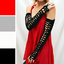 Black Long Arm Warmers Lace Up Gloves Cotton Armwarmers Corset Cut Out Costume 7