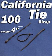 """100 X pcs Black 4"""" Tie Cord Strap 100mm Network Nylon Plastic Cable Wire Zip"""