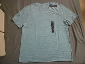 Mens Attention Gray/Green Striped V-Neck Short Sleeve Shirt XL New Clothing Gift