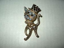 Cute Vintage Goldtone Blue & Black Rhinestones Cat With Top Hat Brooch Pin