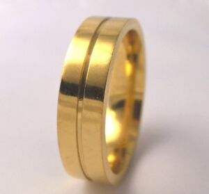 G-Filled 18kt yellow gold Men's wedding band 6mm ring comfort fit USA 13 AUS Z+1