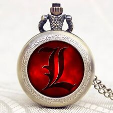 Men Boy Death Note Anime Pendant Necklace Quartz Bronze Pocket Watch Long Chain