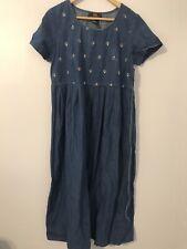 Route 66 Woman Size M Dress Modest Flare Loose Short Sleeve Blue Denim Crewneck