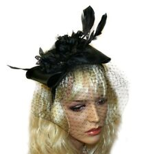 Black Feather Fascinator with Birdcage Veil, Headband, Wedding, Prom Accessories