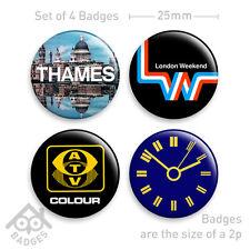 BBC Thames Television ATV LWT TV Idents Logos - Set of 4 x 25mm Badges - Set 1