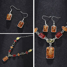 Oval Amber African Style Women Necklace Hook Earrings Party Jewelry Set Precious
