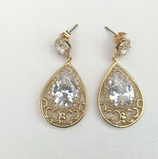 Formal Clear Crystal Drop Earring, Teardrop Shaped, Gold Plated