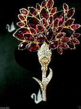 SIGNED SWAROVSKI CRYSTAL FUSHIA FLOWER SPRAY  PIN ~BROOCH RETIRED RARE  NWT