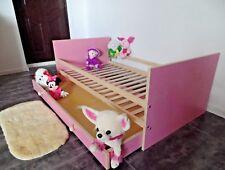 Kinderbett Juniorbett Jugendbett Komplett Set 70x140 cm Schublade rosa weiß Neu