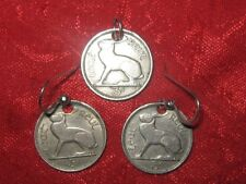 ANTIQUE SET VINTAGE CELTIC IRISH IRELAND CELTIC HARP/ RABBIT CHARM COIN EARRINGS