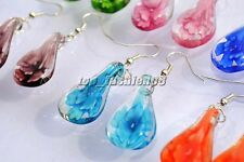 Wholesale 6Pair Drop Flower Handmade Glass Silver P Earrings Jewelry Wedding