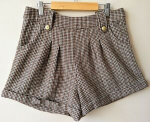 Yumi Vintage Style Shorts 14 Tweed Country Style High Waisted Pleated