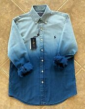 Ralph Lauren Oxford Shirt Mens XL Indigo Dip Dye wNavy Pony Long Sleeve NWT $168