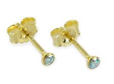 ECHT GOLD *** Zirkonia aquamarin blau Ohrstecker 3 mm