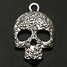 10 PCS Skull Tibetan Silver Charms Pendants Jewelry Finding Jewelry Making DIY