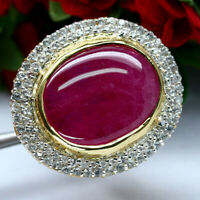 BIG NATURAL 18 X 22mm. CABOCHON RED RUBY & WHITE ZIRCON CAMBODIA RING 925 SILVER