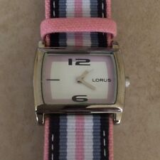 Lorus Women's Watch Rectangle White Dial Striped Band High Quality Brand New!