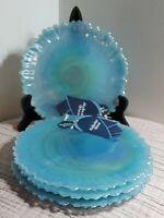 ×4 Alabaster Glass Teal Blue Translucent Swirl Salad /Dessert Plates Turkey NWT