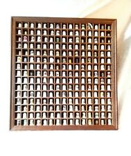 Collection Of  225 Thimbles In An Open Front Wooden Display
