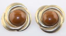 Vintage couture runway gold tone brown cabochon swirl large bold clipon earrings