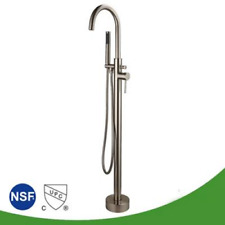 Free Standing Bathtub Faucet Chrome Floor Standing Filler for Tub with Shower