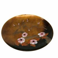 Terri Bovano #81 Cheshire Enamel Plate Floral Mid Century Modern Pink Brown