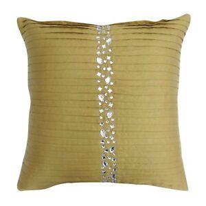 S4Sassy Handmade Pillowcase Beige Handbeaded Cushion Cover Dupion-e86