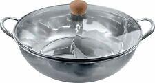 [ Ø 34cm Edelstahl HOT POT mit 2 Kammern + Glasdeckel ] Feuertopf / Shabu Shabu