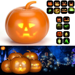 LED Halloween Sprechende Animierte Kürbis Projektion Lampe Home Party Dekor DHL