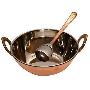 Hammered Steel Copper Kadhai 350 ML with Spoon Serving Rice Tableware Gift Item