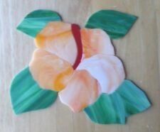 STAINED GLASS hand pre cut MOSAIC Inlay tile,stepping stone,flowers,LG HIBISCUS