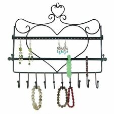 Jewelry Organizer Wall Mount Heart Hanging Earring Holder Necklace Display Rack