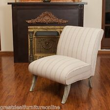 Contemporary Beige Striped Fabric Upholstered Armless Slipper Chair