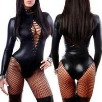 Wetlook Leather Catsuit Women Adult Jumpsuit Bodysuit Clubwear Lingerie Costume