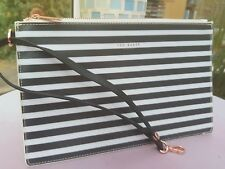 Ted Baker Black and White Striped Zipped Clutch Bag FAB NEW