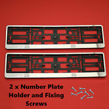 2x Chrome Number Plate Surrounds Holders Frame For All Cars and Fixing Screws