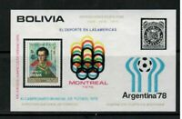 S23638) Bolivia 1975 MNH Montreal 76 S/S Olympics Football Stamps On Stamps