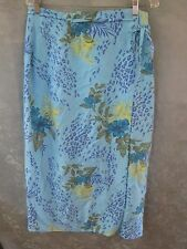 Worthington Long Wrap Skirt Size 14 Tropical Floral Print 100% Silk