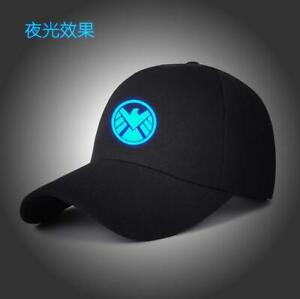 Agents of SHIELD Baseball Cap Black Snapback Adjustable Hat Men Glow in the Dark