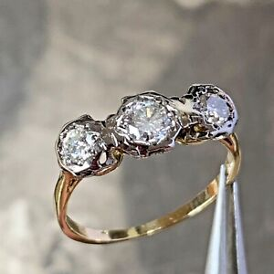 18ct gold and platinum Art deco diamond ring 0.50 carats, UK K1/2, US 5 3/8
