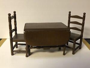 Antique Germany German Dollhouse Furniture Wood Gateleg Drop Leaf Table 2 Chairs
