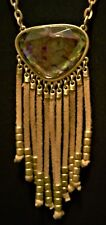 """New Hannah SW Necklace - Faux Gold Jewel, Beaded Tan Suede Fringe, 35.50"""" Long"""
