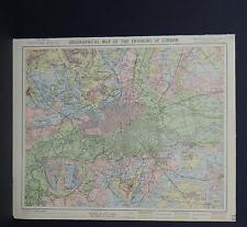 Antique Map, Lett's, 1883 #2 Orographical Map of the Environs of London