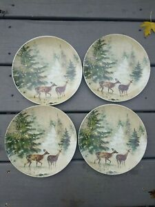 4 New Pottery Barn Deer In Snow Salad Plates