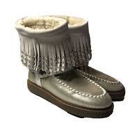 Coach Roccasin Shearling Fringe Stud Boot Moccasin Natural Gold Suede Women's 7