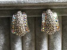 Clip on earrings crystal art nouveau style high quality glamorous elegant