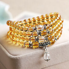 6mm 108 Yellow Stone Buddhist Crystal Prayer Beads Mala Bracelet Necklace Lady