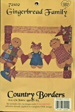New listing Country Borders Gingerbread Family Iron-On Fabric Applique Kit 72102