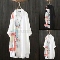 Womens Long Sleeve Printed Button Down Midi Shirt Dress Casual Loose Tops Blouse